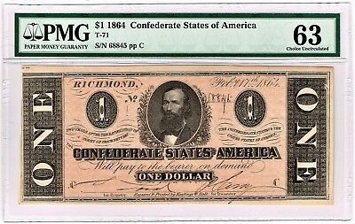 Confederate States of America: T71 $1 1864, PMG Choice Uncirculated 63.