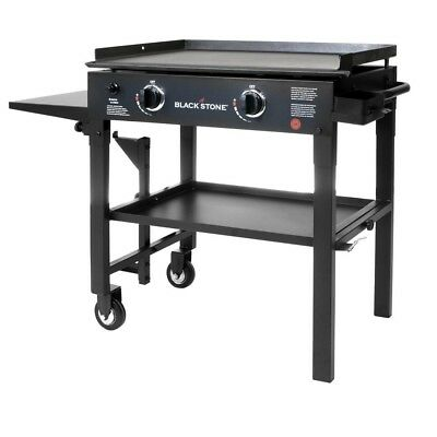 Gas Flat Grill in Black w/Griddle Top 2 burner Restaurant Professional Cooking