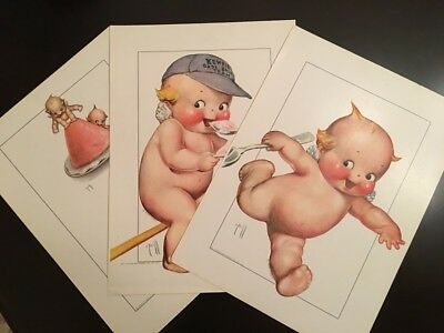 RARE Rose O'Neill Kewpie Ice Cream Advertising 3 Prints Parker Brawner Antique