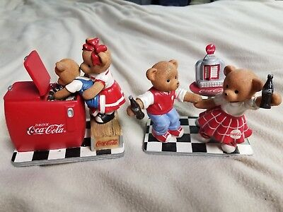 2pc lot Soda pop collection coca cola coke bear figurine Rock N Roll/Real Thing