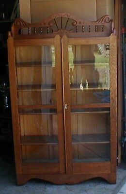 Antique Solid Oak Bookcase China Cabinet Spindle Back VERY RARE