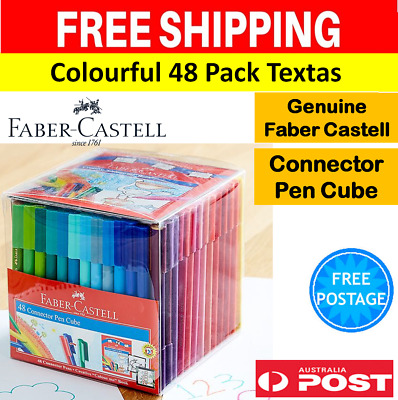 Faber-Castell Connector Pens Textas Cube 48 Colouring Design Drawing Arts Craft