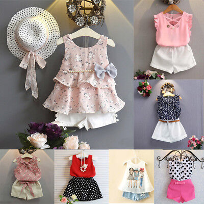 Toddler Kids Baby Girls Floral Bowknot Vest T-Shirt Shorts Outfits Clothes Set