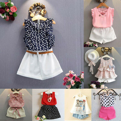 3 Pcs Toddler Kids Baby Girls Outfits Floral Vest T-Shirt Shorts Set Clothes