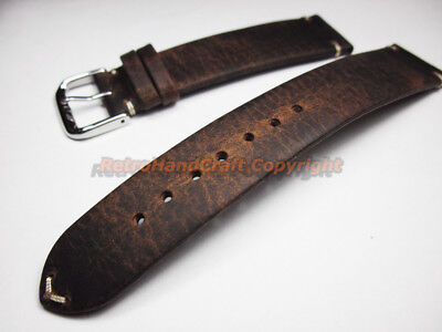 Vintage 18 19 20 21 22mm Handmade Coffee Genuine Calf Leather Watch Strap Band