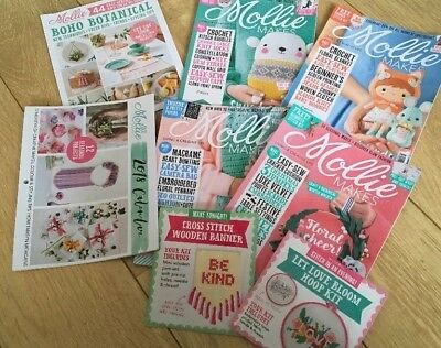 Mollie Makes Magazine Bundle 86 87 88 89 With Some Free Gifts
