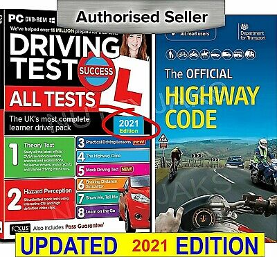 2019 Driving Theory Test + Hazard test CD Rom DVD + Highway Code Book Edition.,
