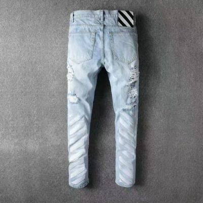8f7828b63606 New OFF WHITE Stripes Denim pants Slim broke ripped jeans embroidered pants  C101