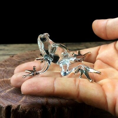 New Frog Hand Blown Glass Miniature Figurine Animal Collectibles Art Decor Cute