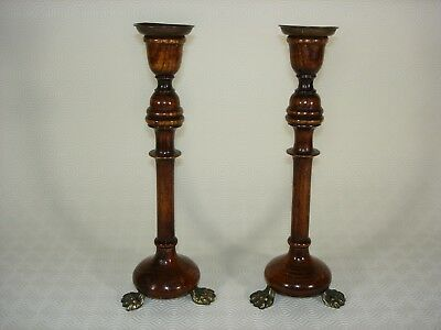 Pair of Antique Oak Turned Candlesticks with Brass Claw Feet