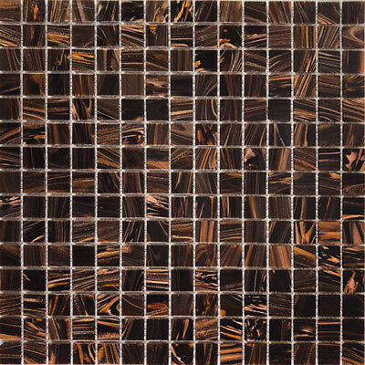 Splash Brown Glass Mosaic Tile 20x20 Bathroom Kitchen Laundry Wall