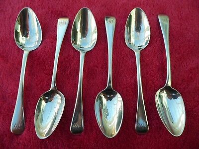 Antique Set Of 6 Six Georgian Hallmarked Sterling Silver Tea Spoons London 1816