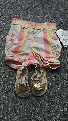 girls shorts and sandals aged 6-9months BNWT