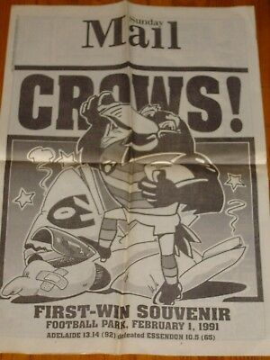 Adelaide Crows Vintage Posters - 1991 First Year - 1st win against Essendon +
