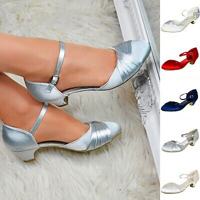 Women Satin Low Mid Heel Shoes Ankle Strap Evening Wedding Bridal Prom Work Size