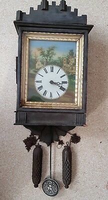 1800s Black Forest Cookoo Cuckoo Style Clock Hand Painted Glass Face Stamped #2
