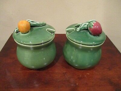 Bordallo Pinheiro Portugal Majolica Covered Condiment Pots with Berry Lids (2)