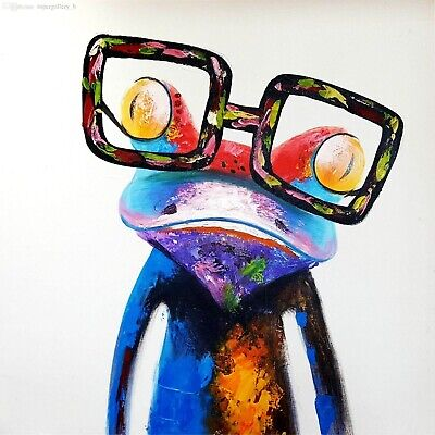 Frog with Glasses colourfull funny Canvas Home Decor quality choose your size
