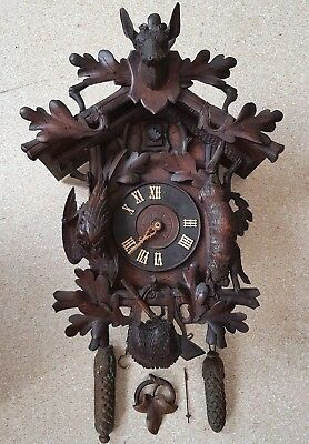 Antique Black Forest Germany Hunter Theme Cuckoo Clock Wooden Hand Carved OLD #3