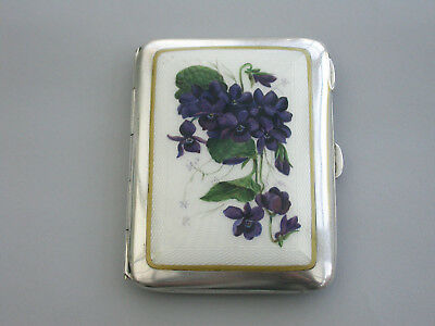 Early 20th C Silver & Guilloche Enamel 'Violets' Cigarette Case Chas Green 1915