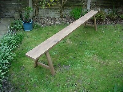 Large Antique French Wood Wooden Solid Oak Bench Seat Garden Patio Dining