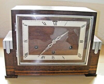 Antique Art Deco Westminster Chime 8 Day Oak Cased Mantel Clock