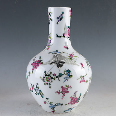 China Porcelain Hand-Painted Crane Flowers  Vase w Daqing Qianlong Marks