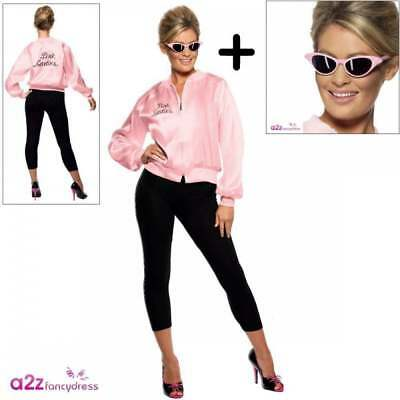 Official Grease Pink Ladies JACKET + SPECS Adult Costume Womens 50s Fancy Dress