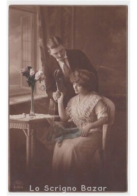 1916 antique card photography d'epoca R&K L pair of innamorati vintage
