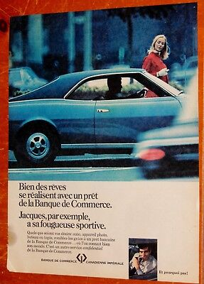 1968 Amc Javelin For French Canadian Cibc Imperial Bank Of Commerce Ad - Vintage