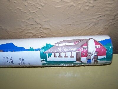 Vintage Western Ranch Horses Prepasted Wallpaper Double Roll