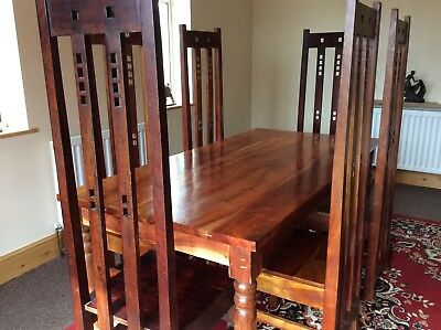 Dining table & chairs in the style of Rennie Mackintosh.