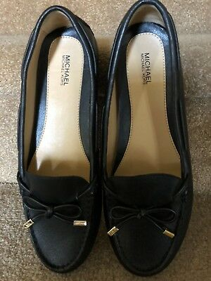 New! Authentic Michael Kors ~Daisy~ Black Leather Moccasin Flats Loafer Ladies 9