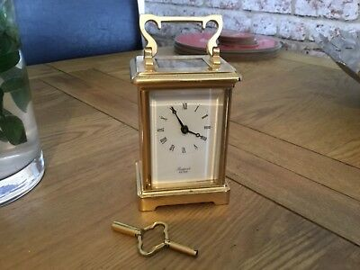 Heavy Vintage Rapport Brass Carriage Clock complete with key