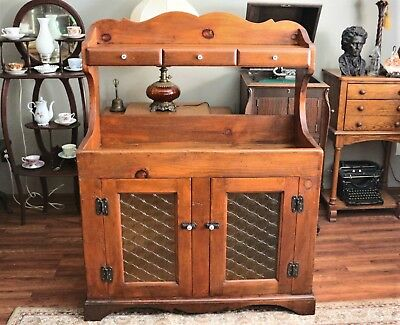 Antique Primitive Pine Dry Sink with Hutch, Original Knobs & Hardware