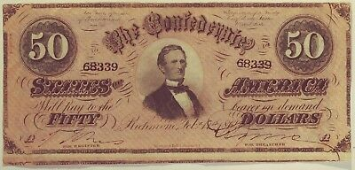 1864 Confederate Currency $50 Note Bill T-66 Free Shipping