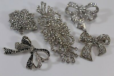 Vintage Brooch Pin Lot of 5 Clear & Black  Rhinestones Cluster Statement Bows