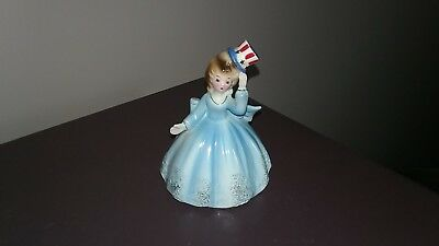 Vintage Josef Originals Patriotic Bell Figurine Red White Blue