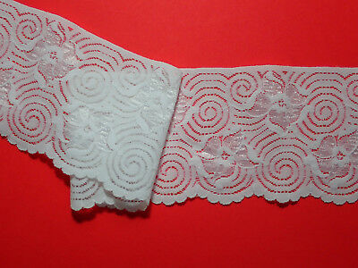 "3 METRES Ivory Floral Stretch Vintage Lace Trim 3.5""/9cm TOP SELLER Ttrimming"