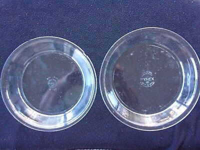 Lot of two Pyrex clear glass pie plates, #208 8 inch, #209 9 inch, preowned.