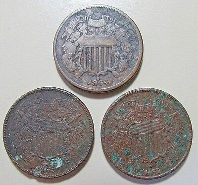 ***3***1864..65..67,   2 Cents***High Details***Corroded Obsolete Coins