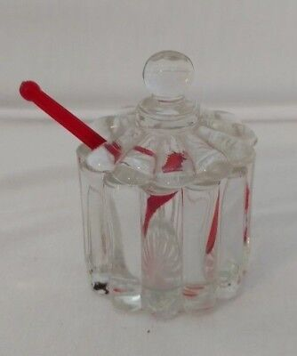 Vintage Glass Salt Dish With Red Salt Spoon ~In Amazing Condition~
