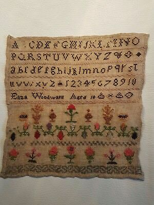 Charming Little Antique Embroidery Sampler