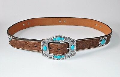 Ariat Western Belt Womens Tooled Leather Embellished Concho Brown Turquoise NWT