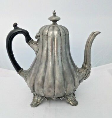 Victorian Gourd Shaped Pewter 1 Pint Teapot on 4 Raised Feet - Shaw & Fisher