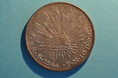 Mexico Silver 8 reales 1844 Go PM Nice au++ coin