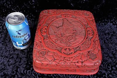 Antique Chinese Wood Carved Dragon Cinnabar Red Lacquer Rectangular Box