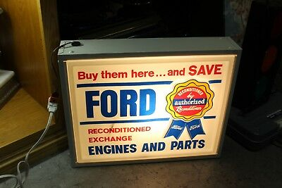 Vintage Ford Engines and Parts Light up Advertising Plastic Sign