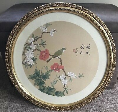 Chinese Framed Silk Picture Print Round