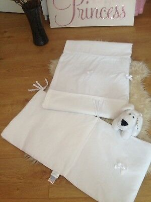 Beautiful Brand New White Cot Bumper & Matching Duvet-Kinder Valley Comb P&p 99P